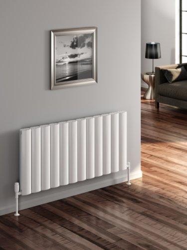 Reina Belva A-BLV060124DW Double White Textured Horizontal Radiator - 1244 x 600mm