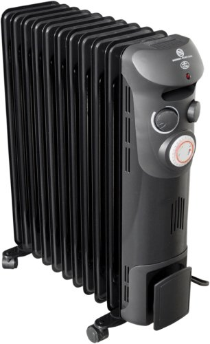 Prem-I-Air Elite Black 2.5kW 11 Fin Oil Filled Radiator with Timer