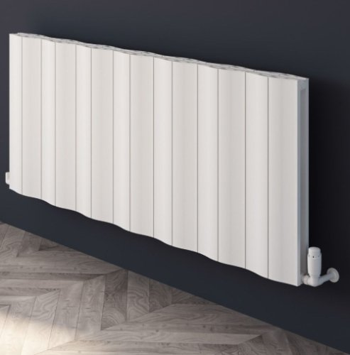 Reina Wave A-WVE06041DW Double White Textured Horizontal Radiator - 412 x 600mm
