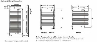 Dimplex BR350C Chrome 350W Electric / 750W Water Ladder Towel Rail