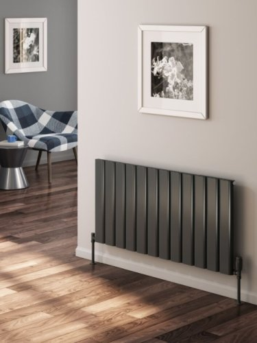 Reina Vicari A-VCR060120SA Single Anthracite Textured Horizontal Radiator 1200 x 600mm