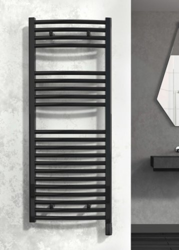 Reina Diva AG60800BF Black Flat Towel Rail 600 x 800mm