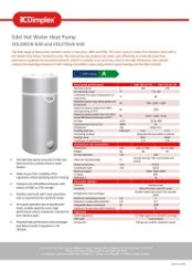 Edel Hot Water Heat Pump Data Sheet