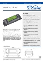 Mirror Demister Pad Transformer 5-40VA Technical Datasheet