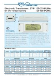 Mirror Demister Pad Transformer 35-75VA Technical Datasheet
