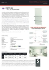 Select XLS Glass Towel Heater Data Sheet